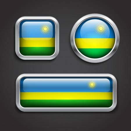 rwanda: Set of Rwanda flag glass buttons, vector illustration
