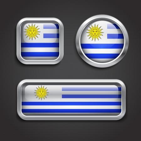 uruguay flag: Set of Uruguay  flag glass buttons, vector illustration