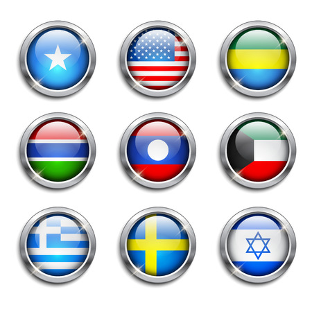 Set of world flags round buttons, vector illustration