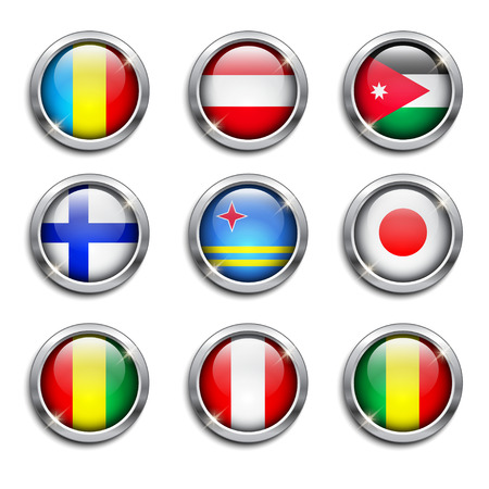 austrian flag: Set of world flags round buttons, vector illustration