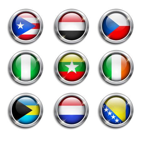 bandera de puerto rico: Juego de banderas del mundo botones redondos, ilustración vectorial Vectores