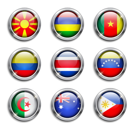 Set of world flags round buttons, vector illustration Vector