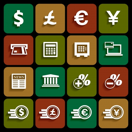 Financial and money icon set, flat design with shadow, vector Vector