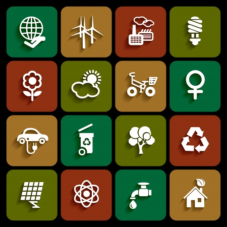 Set of ecology icons in white color with shadow Vector