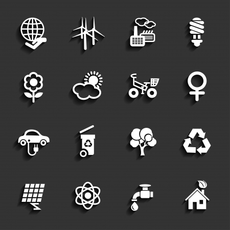 hause: Set of ecology icons in white color with shadow