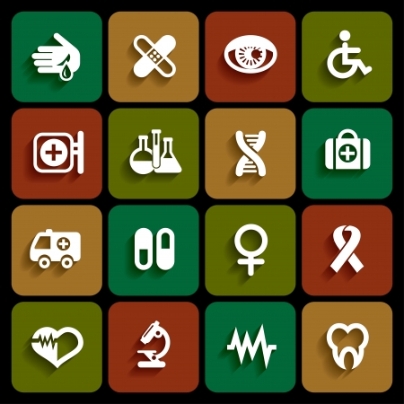 Set of medical icons in white color with shadow Stock Vector - 23651262