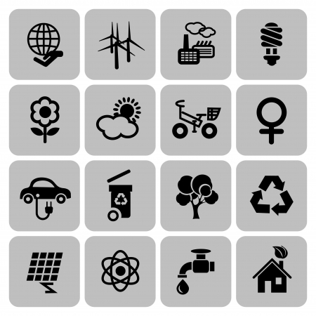 Set of ecology icons in flat design, vector illustration Vector