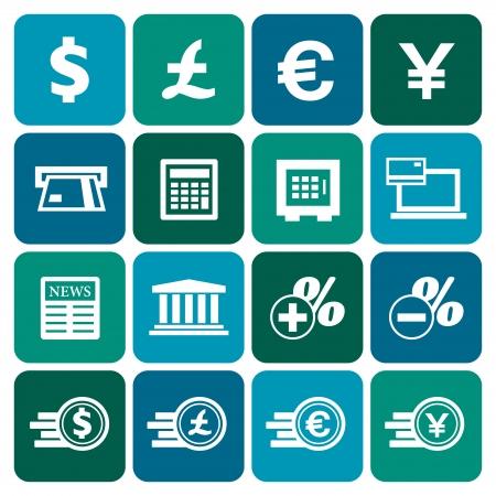 Financial and money icon set, flat design, vector illustration Vector