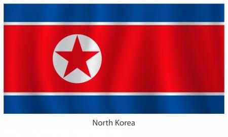 north korea: North Korea flag with title, vector illustration