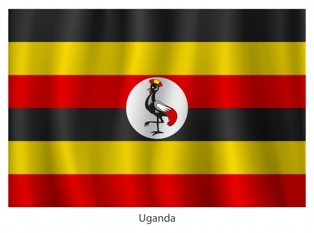 Uganda flag with title, vector illustration Vector