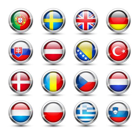romania flag: Set of world flag glass icons, vector illustration