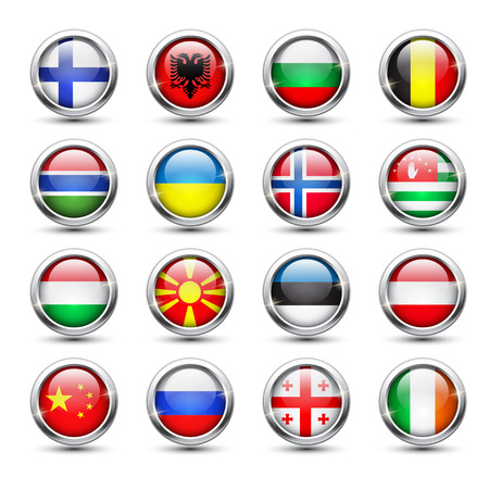 georgia flag: Set of world flag glass icons, vector illustration
