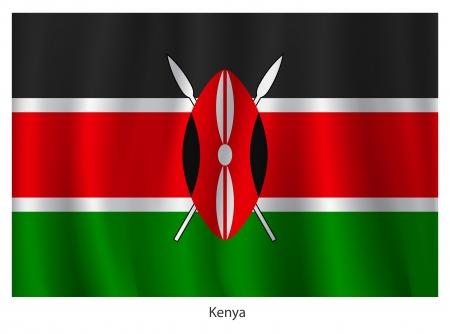 kenya: Kenya flag with title, vector illustration