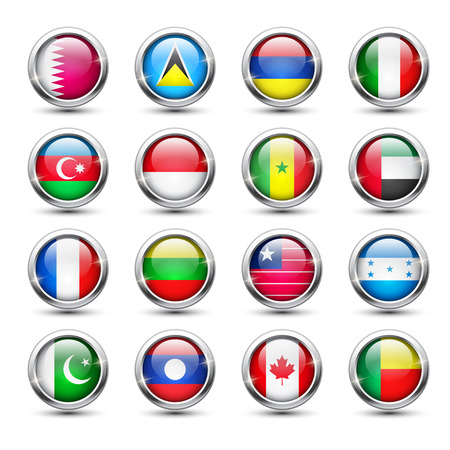 Set of world flag glass icons, vector illustration Vector