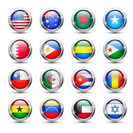 chad: Set of world flag glass icons, vector illustration