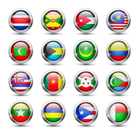 mauritius: Set of world flag glass icons, vector illustration