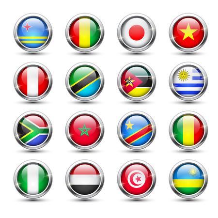 uruguay: Set of world flag glass icons, vector illustration