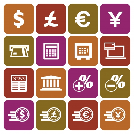 exchange rate: Financial and money icon set, flat design, vector illustration Illustration