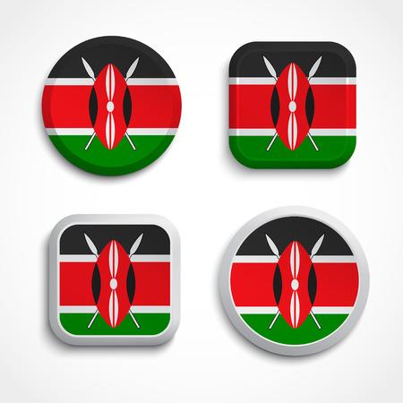 Set of Kenya flag glass icons, vector illustration Illustration