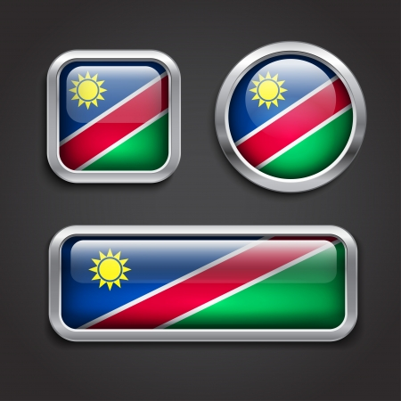 namibia: Set of Namibia flag glass buttons, vector illustration