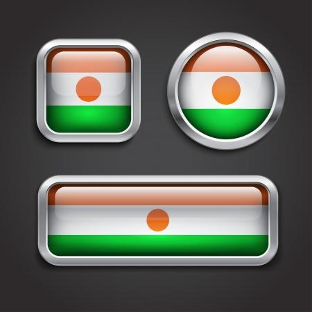 niger: Set of Niger flag glass buttons, vector illustration Illustration