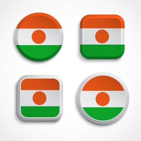 niger: Set of Niger flag icons; vector illustration