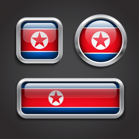 Set of North Korea flag glass buttons, vector illustration Stock Vector - 24504332