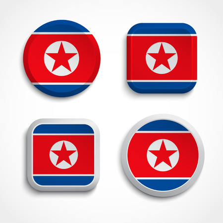 Set of North Korea flag icons, vector illustration Stock Vector - 24504329