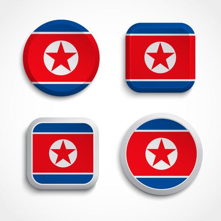 Set of North Korea flag icons, vector illustration Stock Vector - 24504329