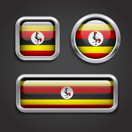 uganda: Set of Uganda flag glass buttons, vector illustration