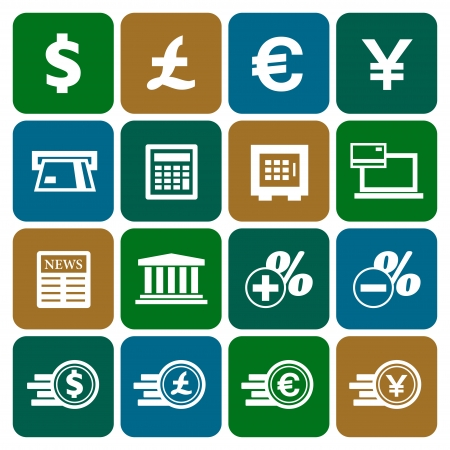 Financial and money icon set, flat design, vector illustration Vector