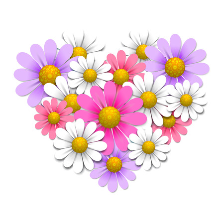yellow daisy: Flowers in the shape of heart Illustration