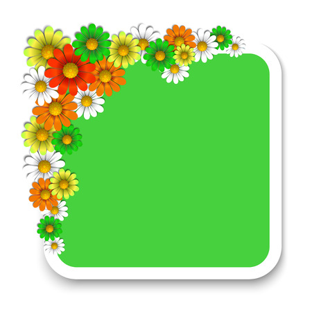 Floral background with colorful flowers and paper, vector illustration Illustration