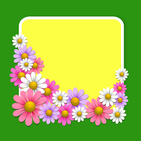yellow daisy: Floral background with daisy on the green background