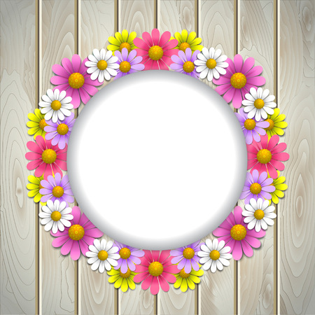 Floral background with daisy and round frame on the wooden texture background Vector