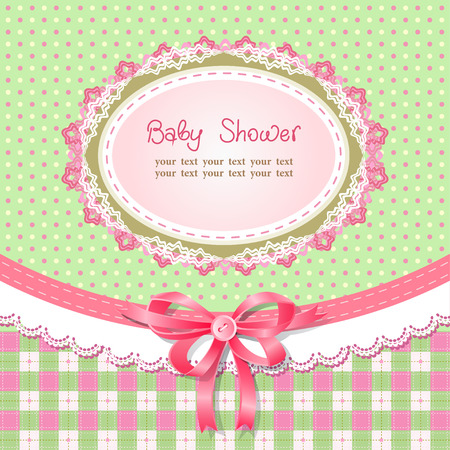 Baby shower for girl, vector illustration Illustration