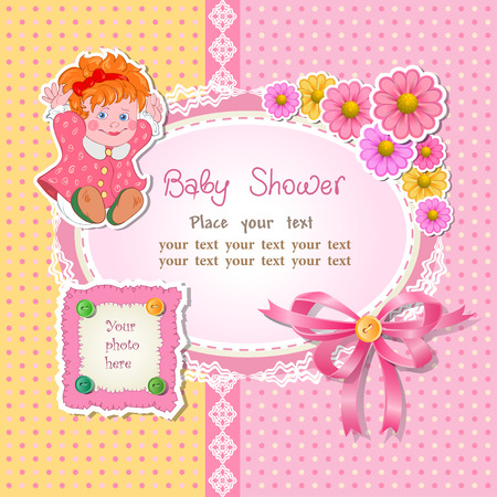Baby shower for girl with toy and flower, vector illustration Vector