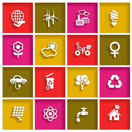 Ecology web icon set in flat design style, vector illustration