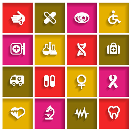 Medical icons set in flat design style, vector illustration Vector