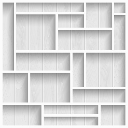 furniture store: Empty white shelves on the wooden wall in gray colors, vector background