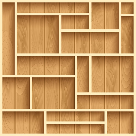 furniture detail: Empty wooden shelves, photo realistic vector background
