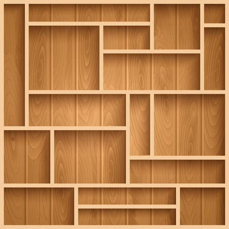 books on shelf: Empty wooden shelves, photo realistic vector background