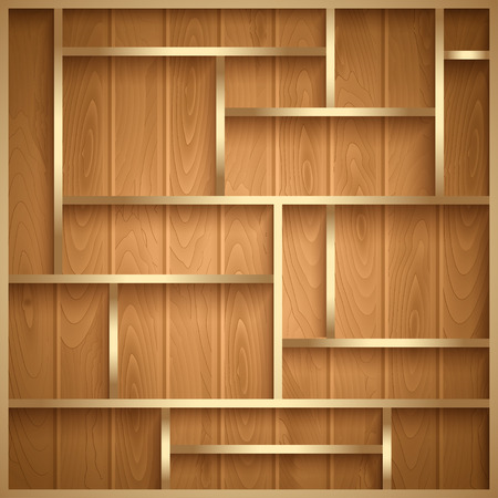 Empty wooden shelves, photo realistic vector background Vector