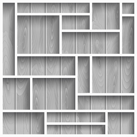 store display: Empty white shelves on the wooden wall in gray colors, vector background