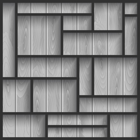 Empty black shelves on the wooden wall in gray colors, vector background