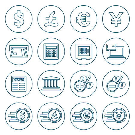Financial and money flat line icons set. Modern design style, vector illustration, isolated on the white background Vector