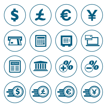 Financial and money outline icons set. Modern design style, vector illustration, isolated on the white background Vector