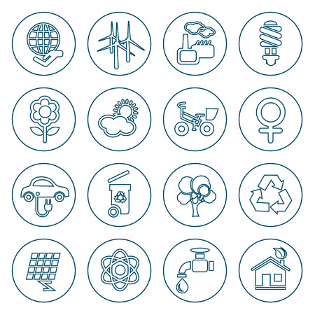 responsibility: Flat line ecology icons set. Modern design style, vector illustration, isolated on the white background