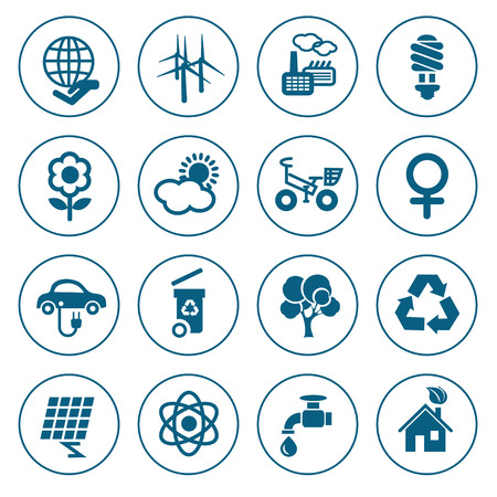 hause: Flat line ecology icons set. Modern design style, vector illustration, isolated on the white background