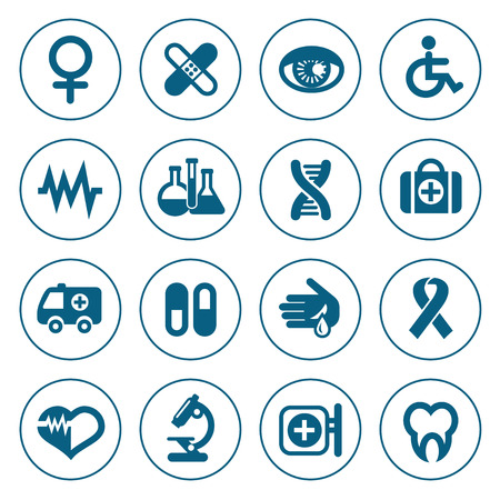 Flat line medical icons set. Modern design style, vector illustration, isolated on the white background Vector